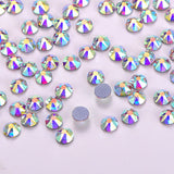 Crystal AB Glass Flat Back HotFix Rhinestones 8 Big 8 Small Cut Facets
