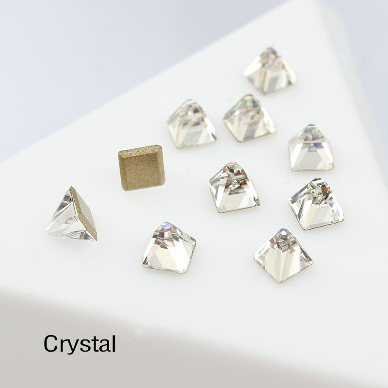 Crystal Square Cone Shape Flat Back Fancy Rhinestones For Nail Art
