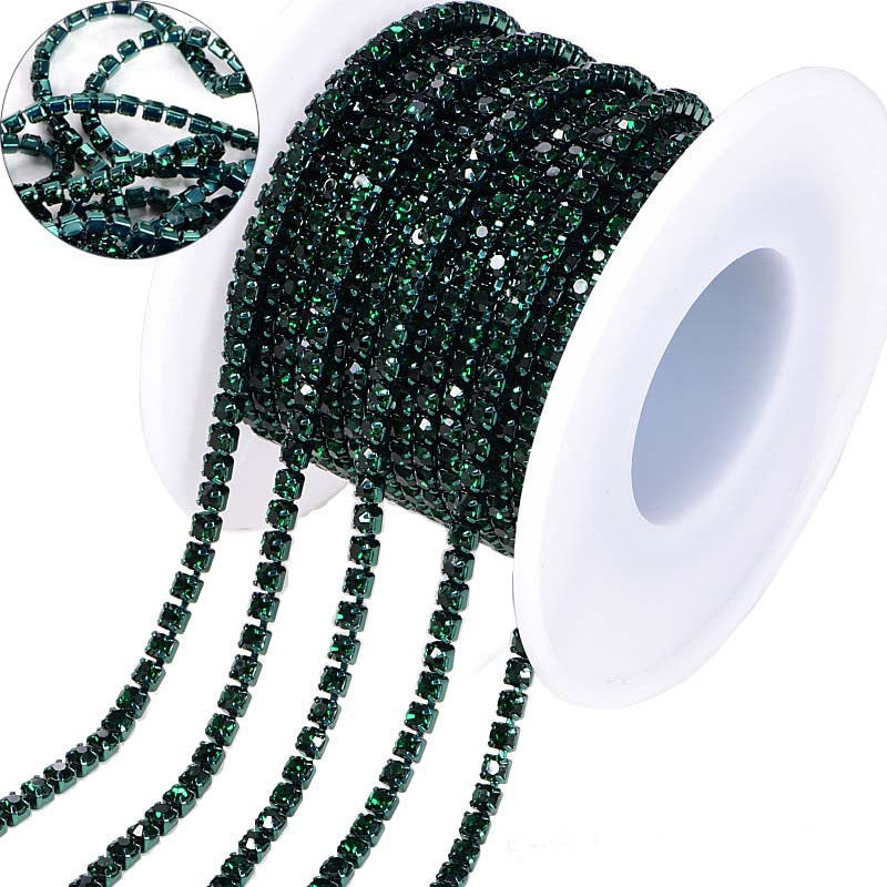 10 Yards Dark Green Rhinestones Close Cup Chain -Dark Green  Base