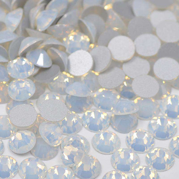 White Opal FlatBack Glass Rhinestones Non HotFix for Nail Art Decorations - WholesaleRhinestone