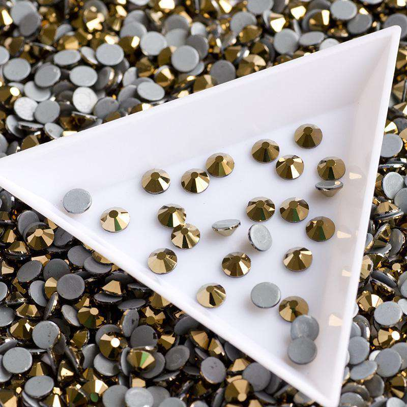 Golden Aurum HotFix Rhinestones Glass FlatBack Crystals - WholesaleRhinestone