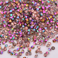 1.2MM Rainbow Rose Gold Unfoiled Glass Micro Pixie Pointed Rhinestones For Nail Art