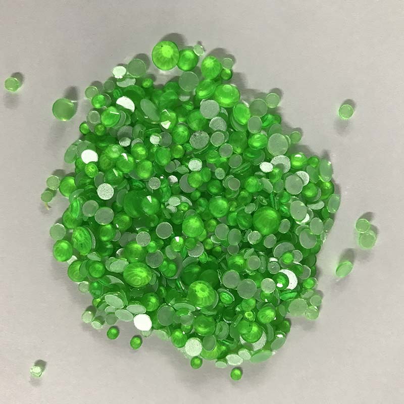 Mixed Sizes Green Glass FlatBack Neon Rhinestones For Nail Art