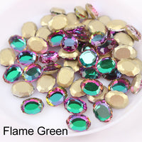 Green Volcano Magic Mirror Shape Flat Back Fancy Rhinestones For Nail Art