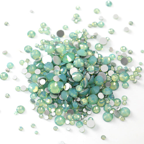 Mix Sizes Green Opal Glass FlatBack Rhinestones For Nail Art, Silver Back