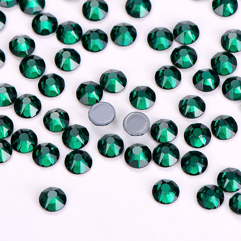 Dark Green Glass HotFix Rhinestones 8 Big 8 Small Cut Facets