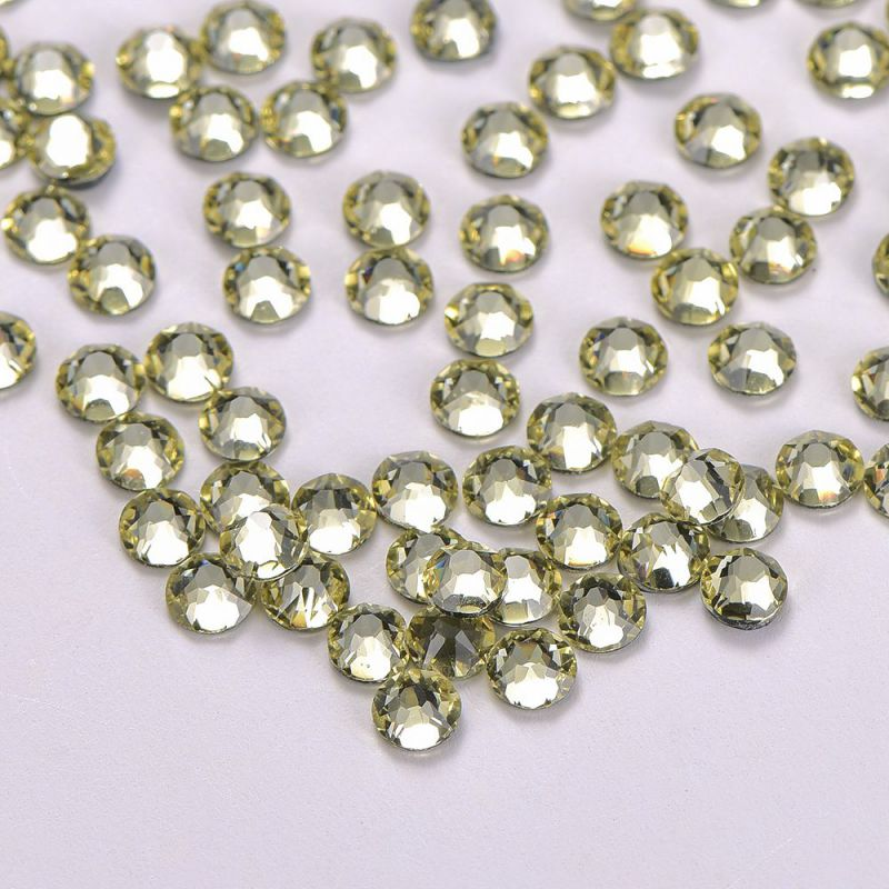 Light Yellow Glass HotFix Rhinestones 16 Cut Facets