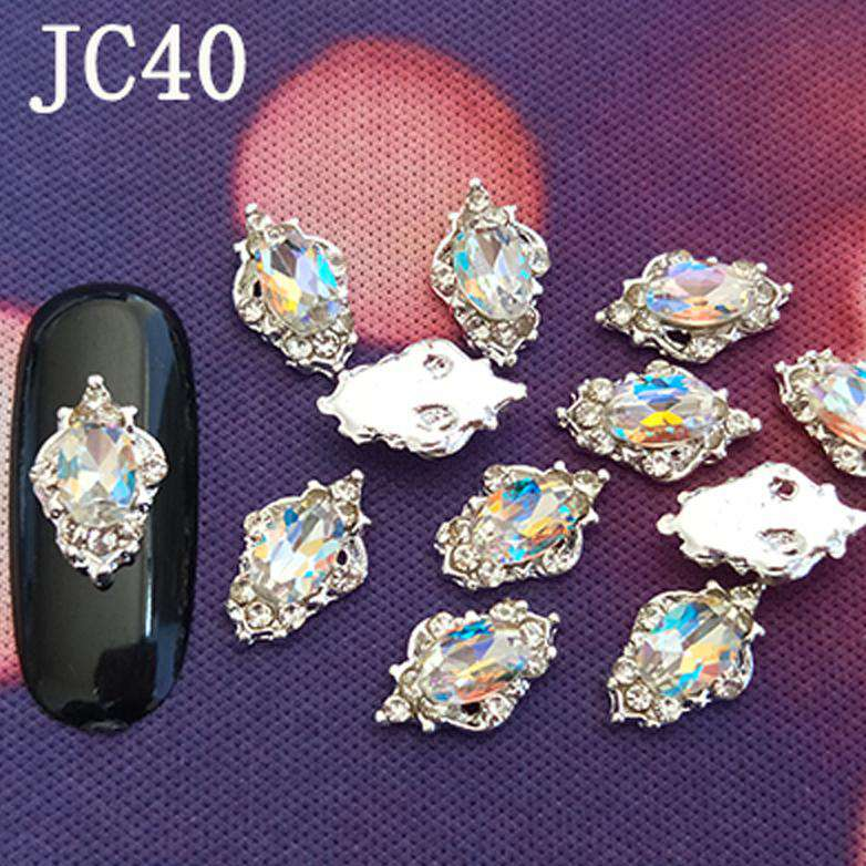 3D Alloy Nail Rhinestone Charms Crystal AB Nail Art Decorations JC21-JC40 - WholesaleRhinestone