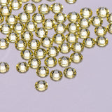 Light Yellow Glass Flat Back No-HotFix Rhinestones 16 Cut Facets