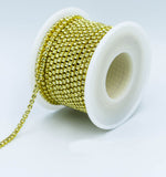 10 Yards Light Yellow Rhinestones Close Cup Chain -Light Yellow Base