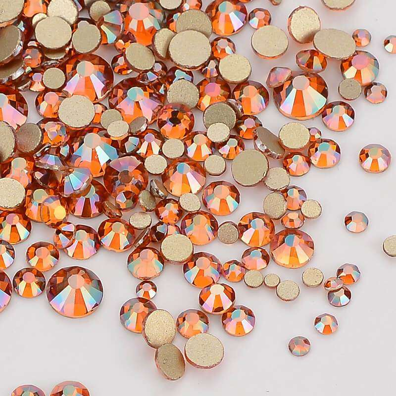 Mix Size Amber FlatBack Rhinestones For Nail Art - WholesaleRhinestone
