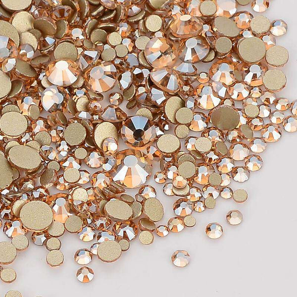 Mix Size Champagne FlatBack Rhinestones For Nail Art