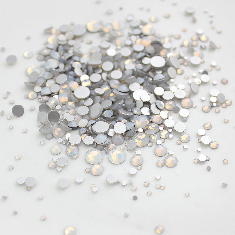 Mix Sizes White Opal Glass FlatBack Rhinestones For Nail Art, Silver Back