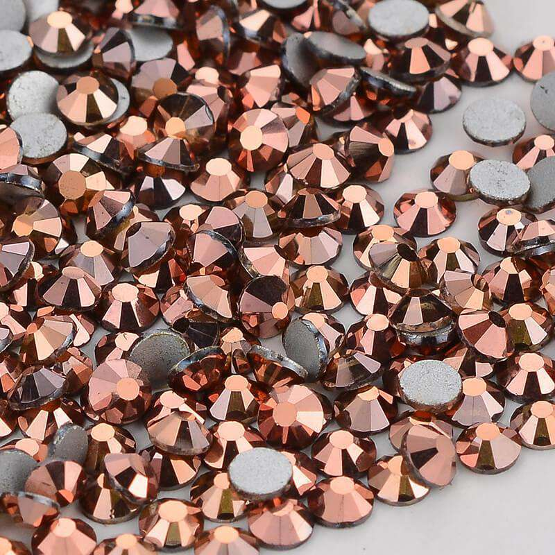 Rose Gold Glass FlatBack Rhinestones, Nail Crystals - WholesaleRhinestone