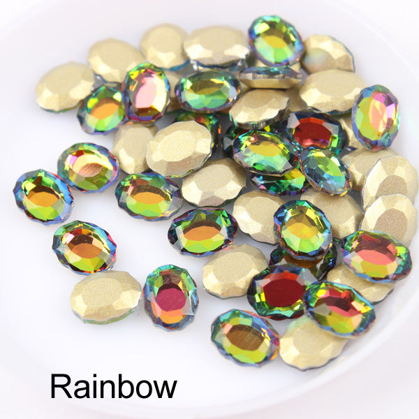 Rainbow Magic Mirror Shape Flat Back Fancy Rhinestones For Nail Art