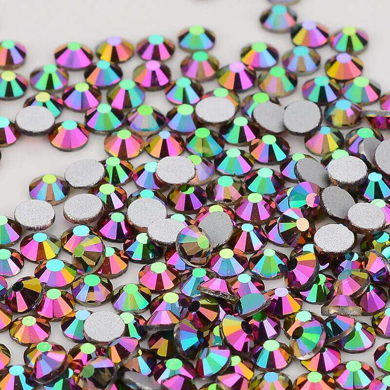 Rainbow Rose Gold Glass FlatBack Rhinestones, Nail Crystals - WholesaleRhinestone