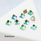 Rainbow Square Cone Shape Flat Back Fancy Rhinestones For Nail Art
