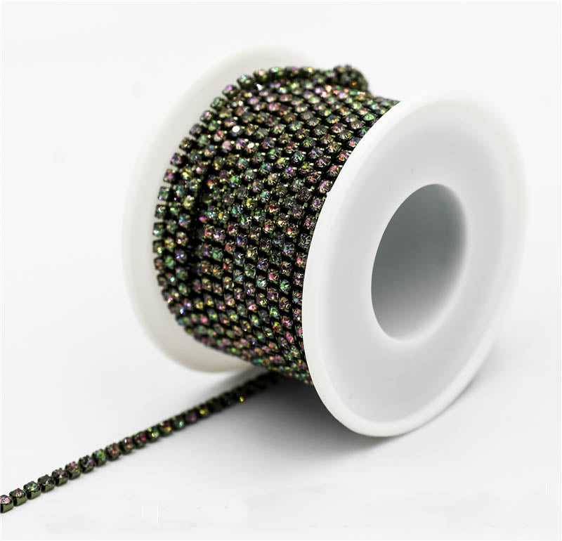 10 Yards Rainbow Rhinestones Close Cup Chain -Rainbow Base
