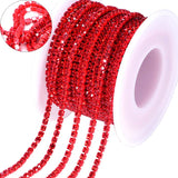 10 Yards Red Rhinestones Close Cup Chain -Red Base