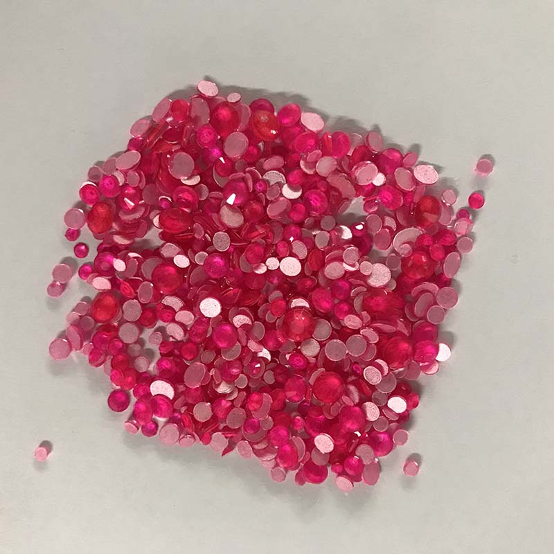 Mixed Sizes Rose FlatBack Neon Rhinestones For Nail Art