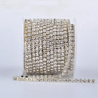 10 Yards Crystal Rhinestones Close Cup Chain - Silver Base