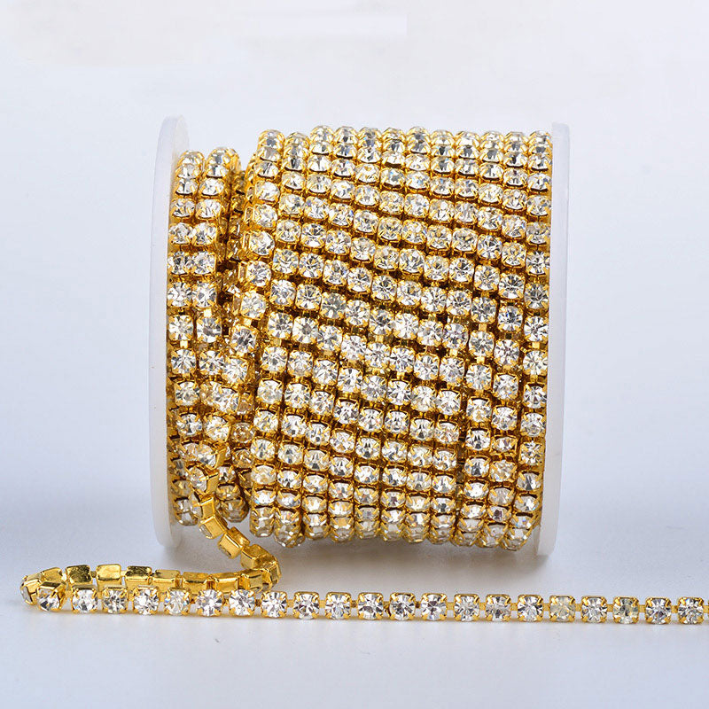 10 Yards Crystal Rhinestones Close Cup Chain - Gold Base