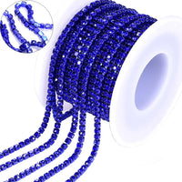 10 Yards Sapphire Rhinestones Close Cup Chain -Sapphire Base
