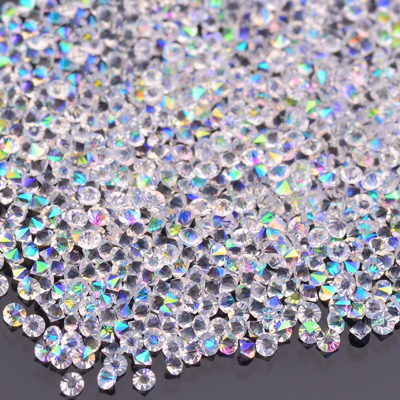 1.2MM Crystal AB Unfoiled Glass Micro Pixie Pointed Rhinestones For Nail Art