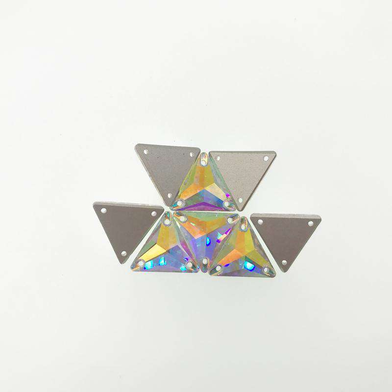 Triangle Sew on Rhinestones Crystal AB Glass Flatback Rhinestones for Crafts Clothing Wedding Dress Decoration - WholesaleRhinestone