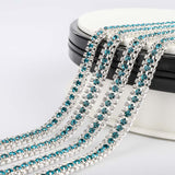 10 Yards Crystal & Indicolite Rhinestones Close Cup Chain -  3 Rows Silver Base