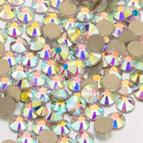 Crystal AB Glass FlatBack Rhinestones, Golden Back