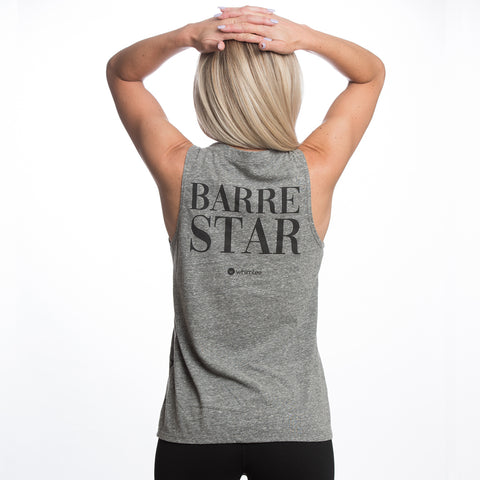 BARRE SO HARD Slub Triblend Slash Back Tank