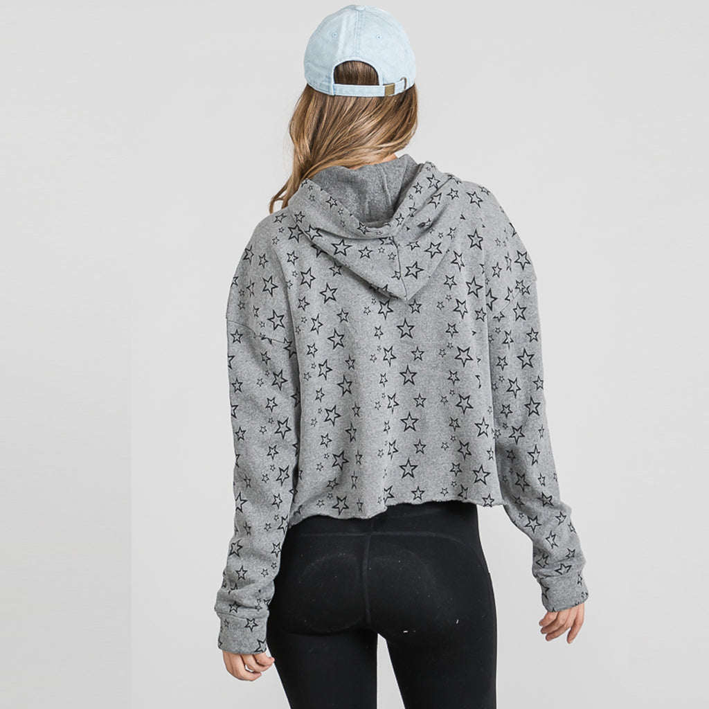GREY FLEECE STARS CROP HOODIE