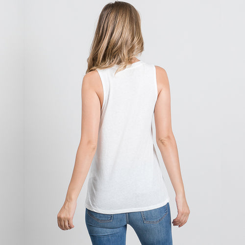 BARRE VIBES White Triblend Sleeveless Tee