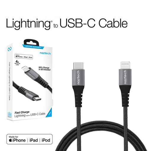Cable iPhone Naztech lightning a Usb C 1.2m Trenzado - iMports 77