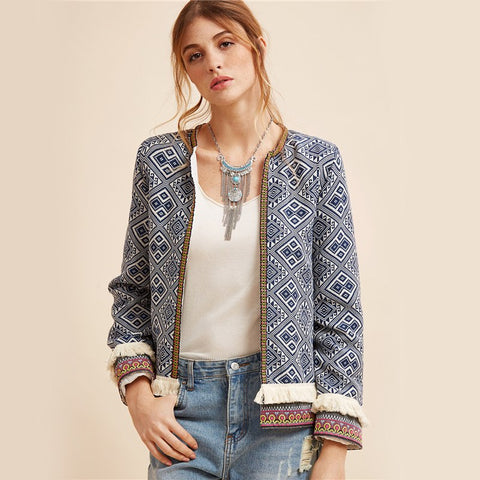 Blue Tribal Embroidered Jacket