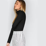 Black Turtleneck Long Sleeve Top