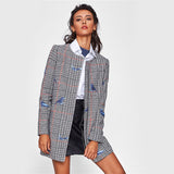 Bird Embroidered Collarless Plaid Coat