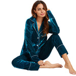 Blue Long Sleeve Notch Collar Pyjamas