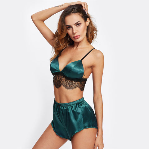 Emerald Lace Trimmed Pyjamas
