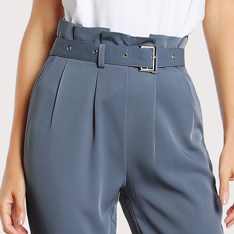 Grey Pleated Trousers With Buckle Belt