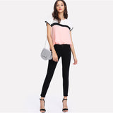 Pink Colour Block Blouse