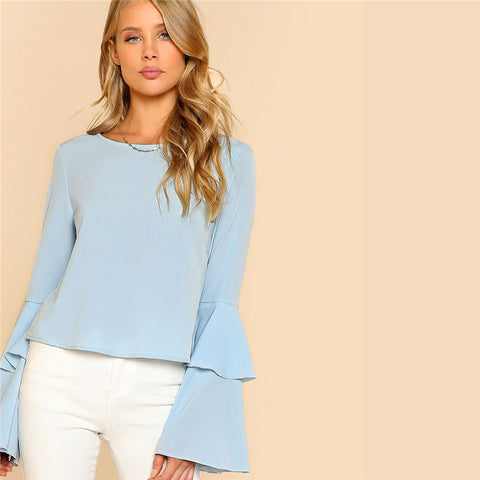 Blue Flare Sleeve Blouse