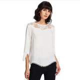 White Translucent Lace Blouse