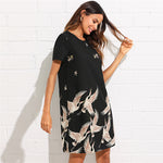 Pink Bird Print Tunic Dress