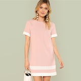 Pink & White Shift Dress