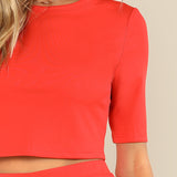 Orange Half Sleeve Crop Top Two Piece