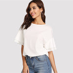 Light Ruffle Sleeve Top