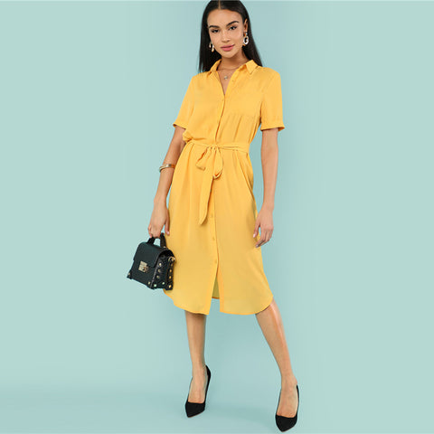 Yellow Belted Shirt Dress