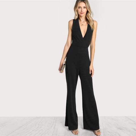 Black V Neck Backless Jumpsuit